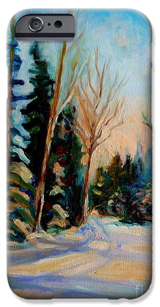 ORMSTOWN QUEBEC WINTER ROAD iPhone Case by CAROLE SPANDAU