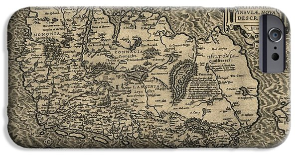 St Elizabeth iPhone Cases - Orteliuss Map Of Ireland, 1598 iPhone Case by Library Of Congress, Geography And Map Division