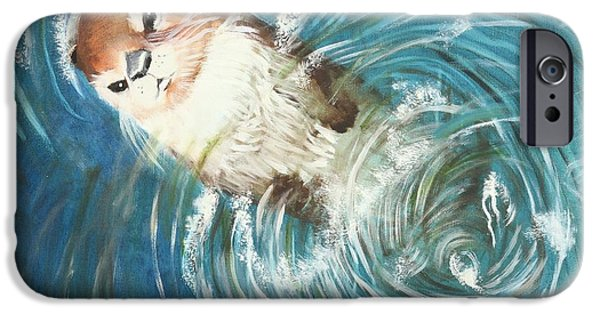 Musky Paintings iPhone Cases - Otter iPhone Case by Terry Lewey