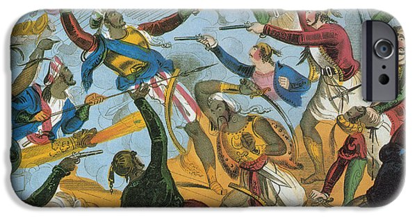 Pirate Drawing iPhone Cases - Ottoman Corsairs Attacking Greek iPhone Case by Photo Researchers
