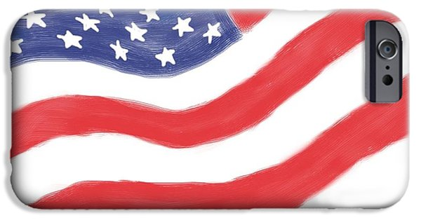Red White And Blue Digital iPhone Cases - Our Flag iPhone Case by Heidi Smith