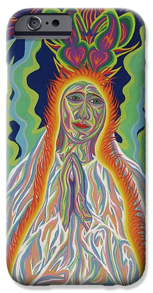 Miracle Pastels iPhone Cases - Our Lady Of Fatima Solar iPhone Case by Robert  SORENSEN