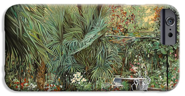 Chair Paintings iPhone Cases - Our Little Garden iPhone Case by Guido Borelli