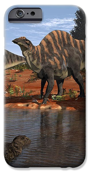 Ouranosaurus Drink At A Watering Hole iPhone Case by Walter Myers
