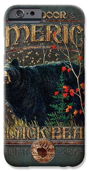 Pine Paintings iPhone Cases - Outdoor Bear iPhone Case by JQ Licensing