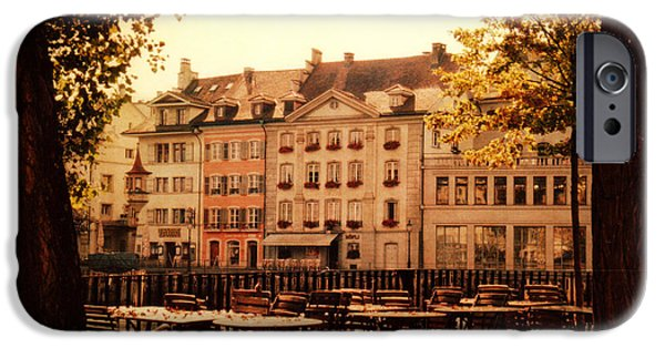 Architectur iPhone Cases - Outdoor Cafe in Lucerne Switzerland  iPhone Case by Susanne Van Hulst