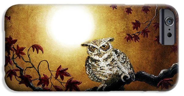 Grunge Digital iPhone Cases - Owl in Maple Leaves iPhone Case by Laura Iverson