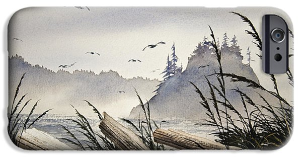 Landscape Greeting Cards iPhone Cases - Pacific Northwest Driftwood Shore iPhone Case by James Williamson
