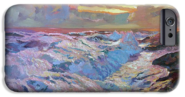 Storms Paintings iPhone Cases - Pacific Ocean Blue iPhone Case by David Lloyd Glover