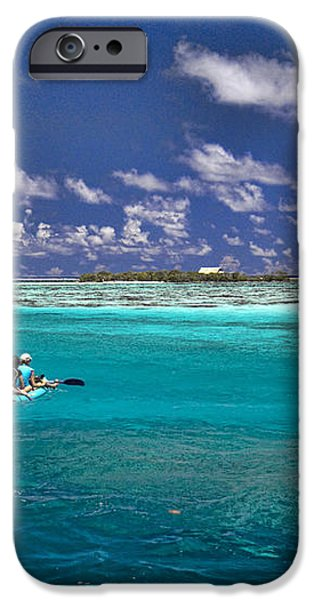 Paddling in Moorea iPhone Case by David Smith
