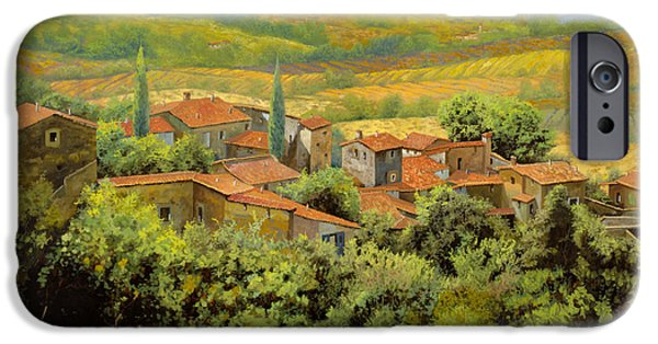 Village Paintings iPhone Cases - Paesaggio Toscano iPhone Case by Guido Borelli