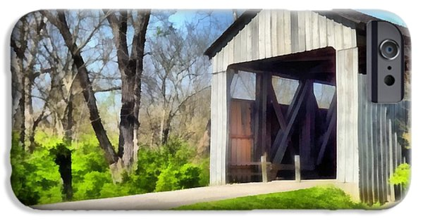 Covered Bridge Mixed Media iPhone Cases - Painted Bridge iPhone Case by Richard Wallace