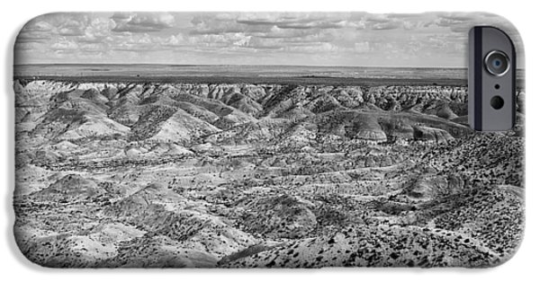 Getting Away From It All iPhone Cases - Painted Desert in B and W iPhone Case by Melany Sarafis