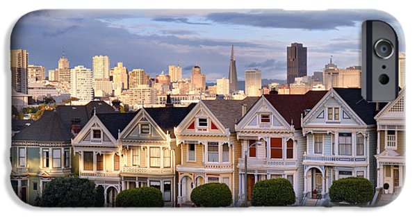 Sunset iPhone Cases - Painted Ladies in SF California iPhone Case by Pierre Leclerc Photography