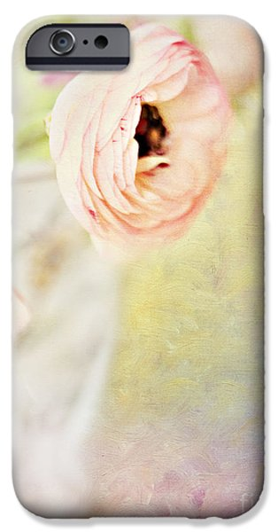 """indoor"" Still Life Digital Art iPhone Cases - Painterly Pink Ranunculus in Vase iPhone Case by Susan Gary"
