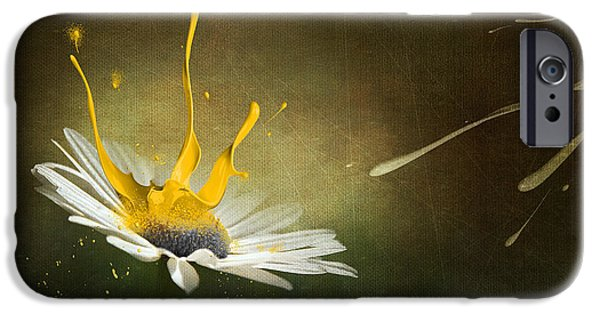 Macro Mixed Media iPhone Cases - Painting Daisy iPhone Case by Svetlana Sewell