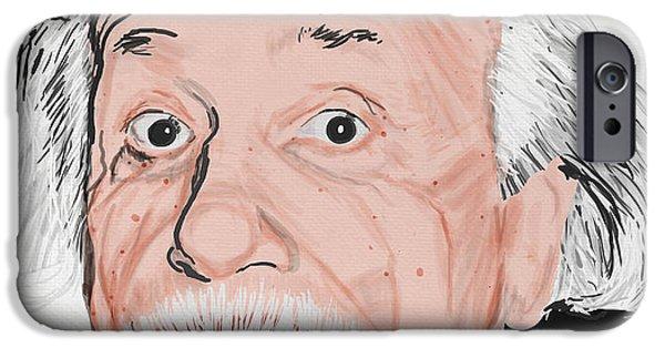 Blank iPhone Cases - Painting Of Albert Einstein iPhone Case by Setsiri Silapasuwanchai