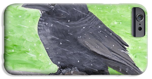 Crows Paintings iPhone Cases - Painting Of Crow In Snowstorm iPhone Case by Keith Webber Jr