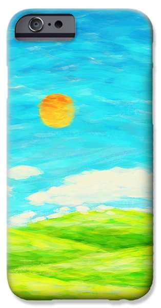 Clouds Pastels iPhone Cases - Painting Of Nature In Spring And Summer iPhone Case by Setsiri Silapasuwanchai