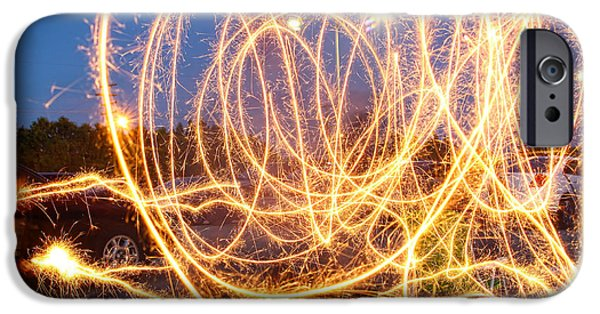 Independance Day iPhone Cases - Painting with Sparklers iPhone Case by Gordon Dean II