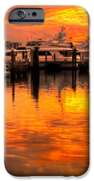 Palm Beach Harbor Glow iPhone Case by Debra and Dave Vanderlaan
