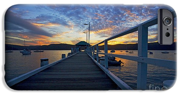 Sunset iPhone Cases - Palm Beach wharf at dusk iPhone Case by Sheila Smart