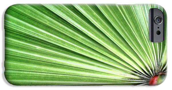 Geometric Effect iPhone Cases - Palm leaf iPhone Case by Rudy Umans