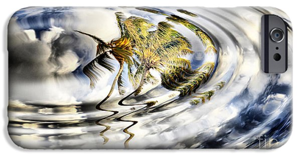 Trees Reflecting In Water iPhone Cases - Palm Reflections iPhone Case by Cheryl Young