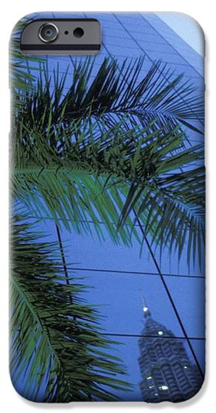 Palm Tree And Reflection Of Petronas iPhone Case by Axiom Photographic