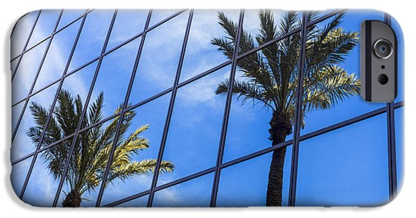 Glass Reflecting iPhone Cases - Palm Trees Reflection on Glass Office Building iPhone Case by Paul Velgos