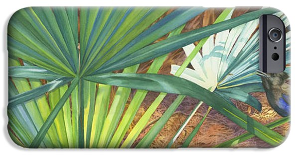 Stellar Paintings iPhone Cases - Palmettos and Stellars Blue iPhone Case by Marguerite Chadwick-Juner