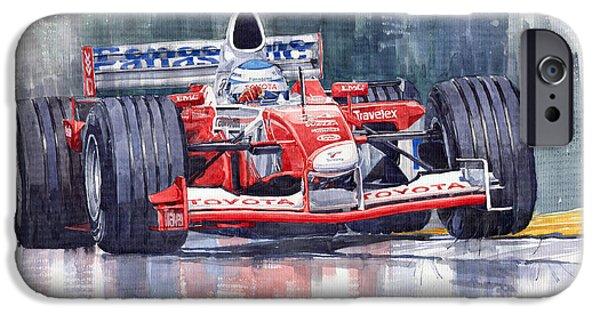 Watercolour Paintings iPhone Cases - Panasonic Toyota TF102 F1 2002 Mika Salo iPhone Case by Yuriy  Shevchuk