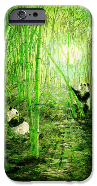 Monochromatic Digital Art iPhone Cases - Pandas in Springtime Bamboo iPhone Case by Laura Iverson