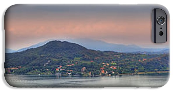Prospects iPhone Cases - Panorama Lake Maggiore iPhone Case by Joana Kruse