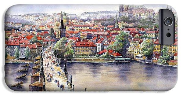 Charles Bridge iPhone Cases - Panorama with Vltava river Charles Bridge and Prague Castle St Vit iPhone Case by Yuriy  Shevchuk