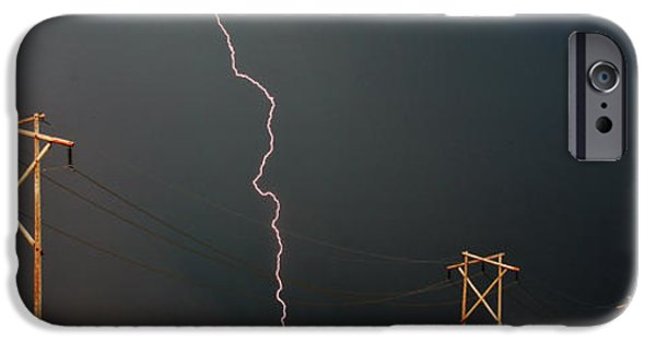 Lightning Digital Art iPhone Cases - Panoramic Lightning Storm and Power Poles iPhone Case by Mark Duffy