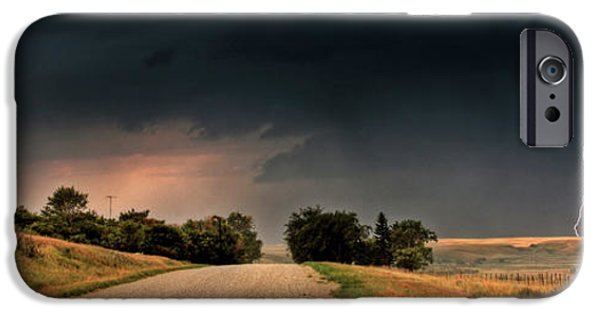 Lightning Digital Art iPhone Cases - Panoramic Lightning Storm in the Prairie iPhone Case by Mark Duffy