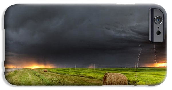 Lightning Digital Art iPhone Cases - Panoramic Lightning Storm in the Prairies iPhone Case by Mark Duffy