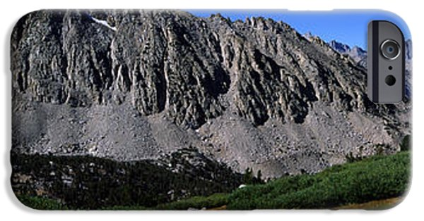 Pathway iPhone Cases - Panoramic Of Hikers On Kersarge Lake iPhone Case by Robert Postma