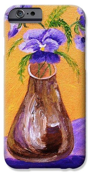 Pansies in Brown Vase iPhone Case by Jamie Frier