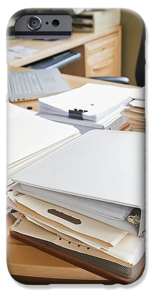 Paperwork on an Office Desk iPhone Case by Jetta Productions, Inc