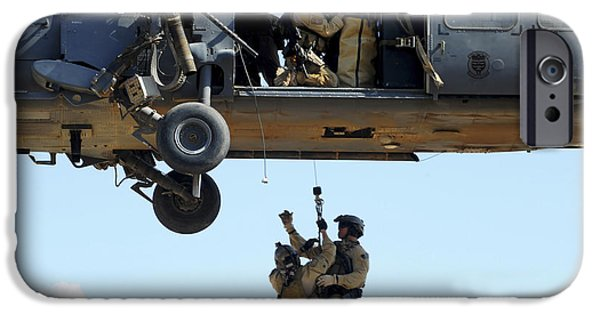 Baghdad iPhone Cases - Pararescuemen Are Hoisted Into An Hh-60 iPhone Case by Stocktrek Images