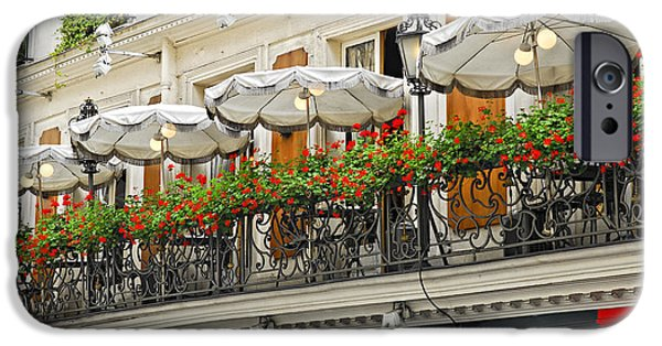Balcony Photographs iPhone Cases - Paris cafe iPhone Case by Elena Elisseeva