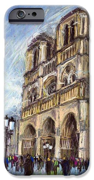 Pastels iPhone Cases - Paris Notre-Dame de Paris iPhone Case by Yuriy  Shevchuk