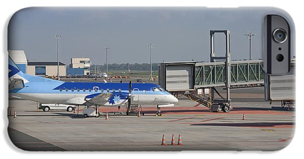 Airline Industry iPhone Cases - Parked Airplane at an Airport Gate iPhone Case by Jaak Nilson