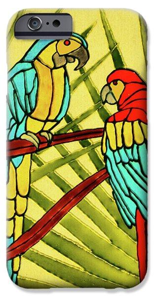 Plant Glass Art iPhone Cases - Parrots iPhone Case by Farah Faizal