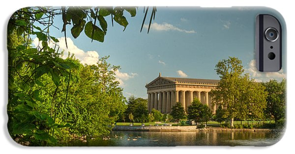 Willow Lake iPhone Cases - Parthenon at Nashville Tennessee 13 iPhone Case by Douglas Barnett