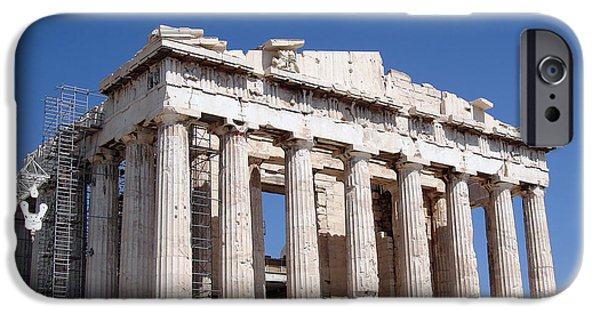 Ruins iPhone Cases - Parthenon front Facade iPhone Case by Jane Rix