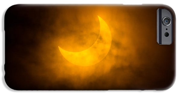 Solar Eclipse iPhone Cases - Partial Solar Eclipse Through Fog iPhone Case by Greg Nyquist
