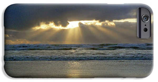 Sun Breaking Through Clouds iPhone Cases - Parting the Heavens iPhone Case by Pamela Patch